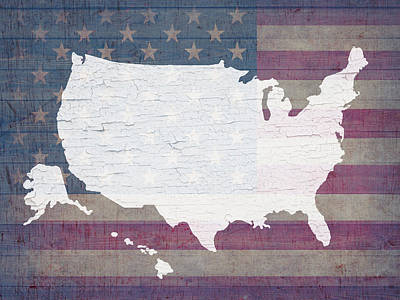 Map Of United States In White Old Paint On American Flag Barn Wood Print by Design Turnpike