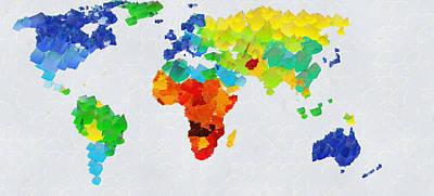 Dog Painting - Map Of World by Georgi Dimitrov