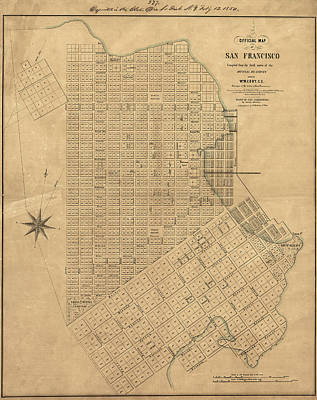 Cemetary Painting - Map San Francisco, 1849 by Granger