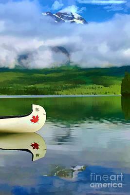 Maple Leaf Canoe On Pyramid Lake Print by Teresa Zieba