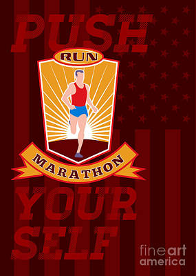 Marathon Runner Push Yourself Poster Front Print by Aloysius Patrimonio