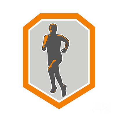 Marathon Runner Running Front Shield Retro Print by Aloysius Patrimonio