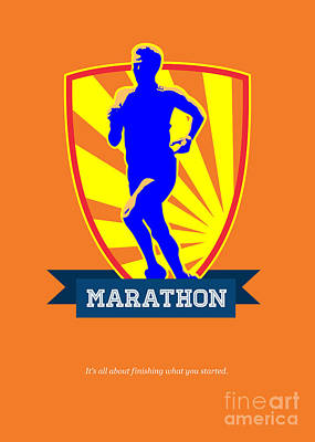 Sprinting Digital Art - Marathon Runner Starting Run Retro Poster by Aloysius Patrimonio
