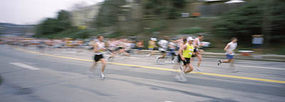 Marathon Runners On A Road, Boston Print by Panoramic Images