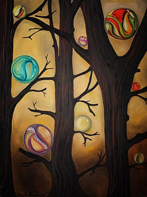 Sphere Painting - Marble Forest Edit 4 by Leah Saulnier The Painting Maniac