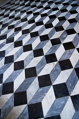 Optical Illusion Photograph - Marble Patterned Floor by Mark Williamson