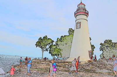 Historic Site Drawing - Marblehead Lighthouse by Jim Steinmiller