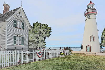 Historic Site Drawing - Marblehead Lighthouse With Keeper's House by Jim Steinmiller