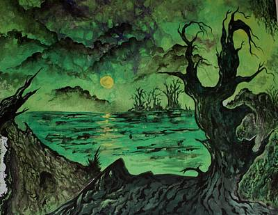 Aligator Painting - Marcelle's Bayou 1 by Billy Fountain