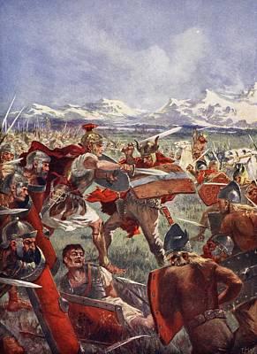 Shield Drawing - Marcellus Duel With Virdumarus by John Harris Valda