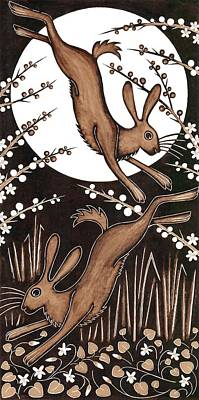 March Hares, 2013 Woodcut Print by Nat Morley