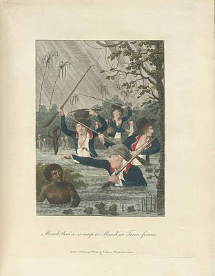 Slaves Photograph - March Through A Swamp by British Library