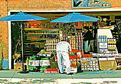 Epicerie Painting - Marche Fruits Et Legumes Fruiterie And Convenience Store Vintage Montreal City Scene by Carole Spandau