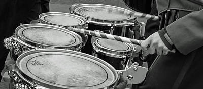 Drum Photograph - Marching Percussion Quints Bw by Photographic Arts And Design Studio