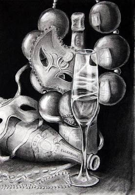 Mardi Drawing - Mardi Gras Champagne by Steve Ellenburg