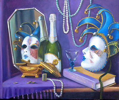 Reflections On Bottle Painting - Mardi Gras by Rich Kuhn