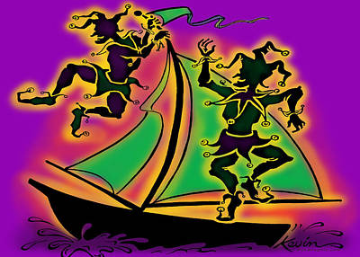 Jester Painting - Mardi Gras Ship Of Fools by Kevin Middleton