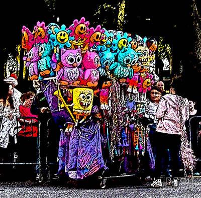 Mardi Gras Vendor's Cart Print by Marian Bell