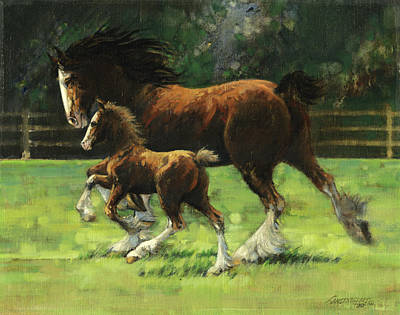 Clydesdale Mare And Colt Print by Don  Langeneckert