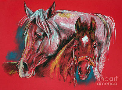 Mare With A Foal Print by Angel  Tarantella