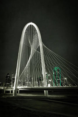 Texas Cities Photograph - Margaret Hunt Hill Bridge By Night by Joan Carroll