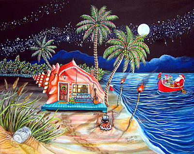 Canoe Painting - Margaritaville Conch Christmas by Abigail White