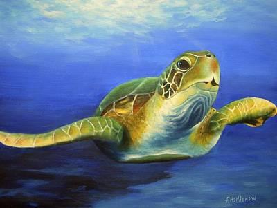 Ocean Turtle Painting - Margie The Sea Turtle by Francine Henderson