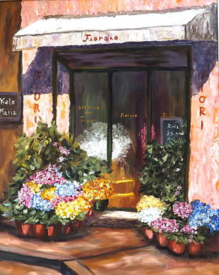 Store Fronts Painting - Maria Flower Shop by Gino Didio