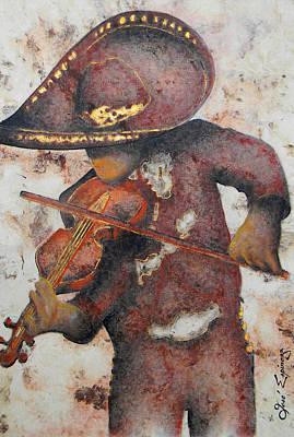 Handmade Paper Mixed Media - Mariachi I by Jose Espinoza