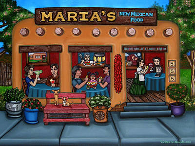 Dining Out Painting - Maria's New Mexican Restaurant by Victoria De Almeida
