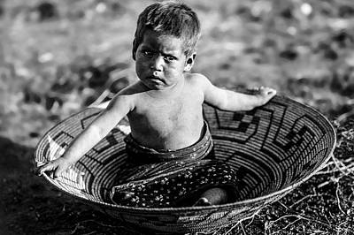 Baskets Photograph - Maricopa Child Circa 1907 by Aged Pixel