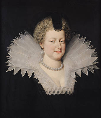 Marie De Medici 1573-1642 Oil On Canvas Print by Frans II Pourbus