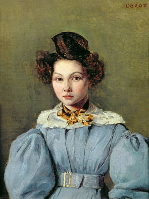 Blue Dresses Photograph - Marie Louise Sennegon, 1831 Oil On Canvas by Jean Baptiste Camille Corot
