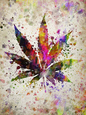 Marijuana Leaf In Color Print by Aged Pixel