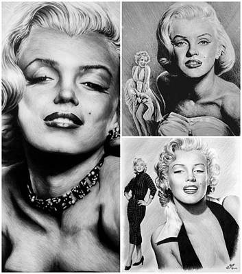 Marilyn Drawing - Marilyn Collage by Andrew Read