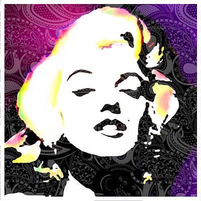 Woman Digital Art - Marilyn In Purple by Cindy Edwards