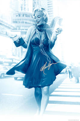 Jj Digital Art - Marilyn In The City Blue by JJ Brando