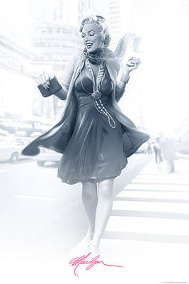 Jj Digital Art - Marilyn In The City Pink by JJ Brando