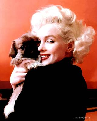 Marilyn Monroe And Pekingese Portrait Print by Gabriel T Toro