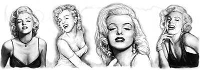 Marilyn Drawing - Marilyn Monroe Art Long Drawing Sketch Poster by Kim Wang
