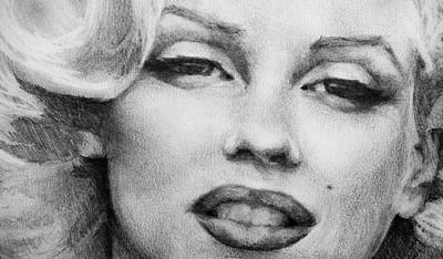Norma Jean Drawing - Marilyn Monroe - Close Up by Jani Freimann