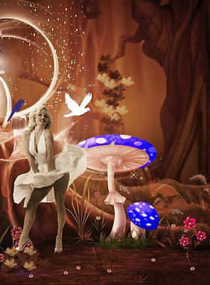 Marilyn Monroe In Fantasy Land Print by EricaMaxine  Price