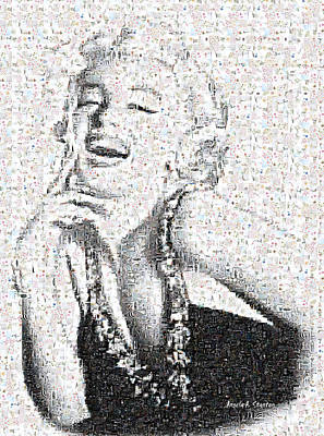 Marilyn Monroe In Mosaic Print by Angela A Stanton
