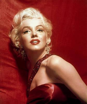 1950s Movies Digital Art - Marilyn Monroe In Red by Georgia Fowler