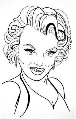 Movie Star Drawing - Marilyn Monroe Line  Drawing by Linda Simon
