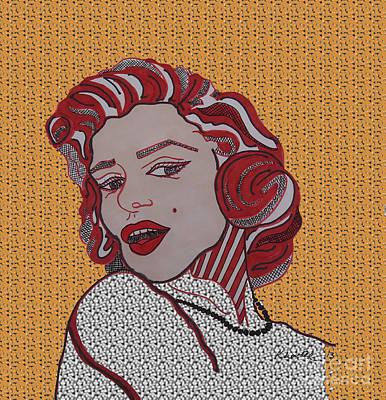 Norma Jean Drawing - Marilyn Monroe Orange by Karen Larter