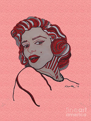 Norma Jean Drawing - Marilyn Monroe Pink by Karen Larter