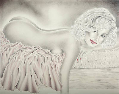 Norma Jean Drawing - Marilyn Monroe Reclining Nude by Vincent Wolff