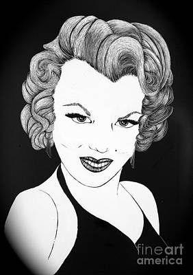 Movie Star Drawing - Marilyn Monroe- Scratch Bd by Linda Simon