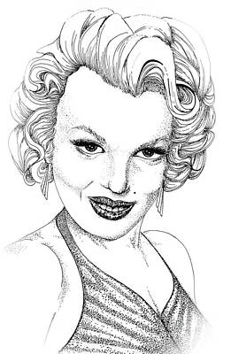 Movie Star Drawing - Marilyn Monroe -stipple by Linda Simon